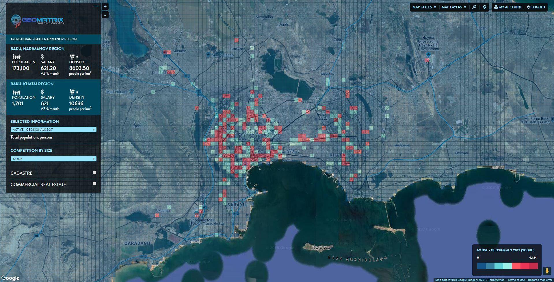 Geomatrix. Микрозоны Баку. Распределение зон по плотности гео-сигналов с мобильных устройств.