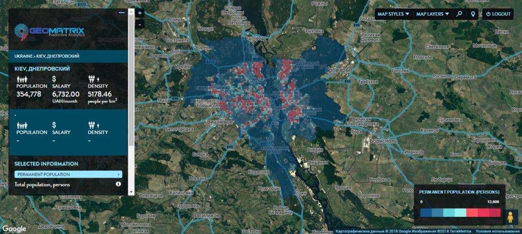 Киев. Распределение по населению.