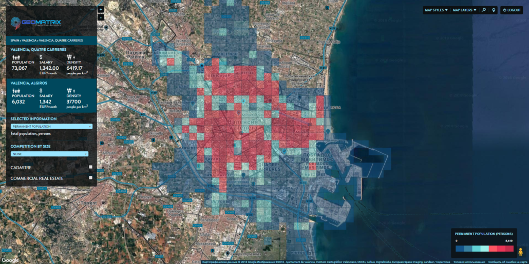 Micro-zones of Valencia, Spain. Distribution by permanent population.
