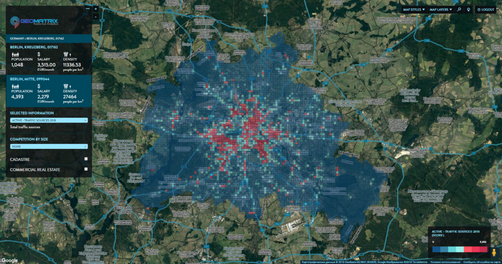 Micro-zones of Berlin. Distribution by the traffic sources (POIs).