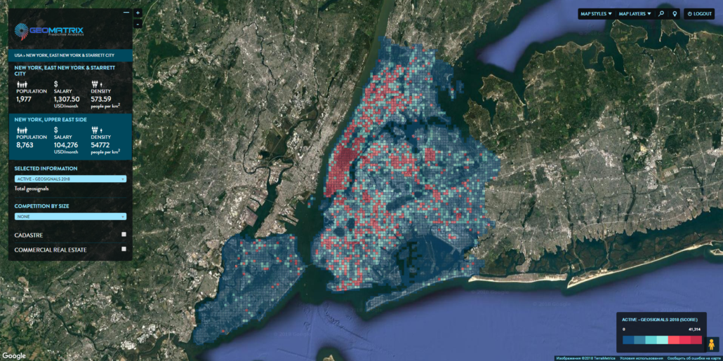 Micro-zones of New York City. Distribution by the density of geo-signals from mobile devices.